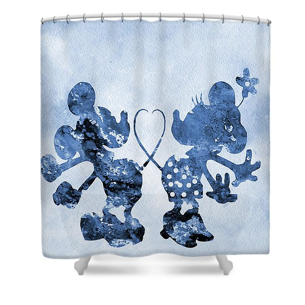 Mickey And Minnie Mouse-blue Shower Curtain