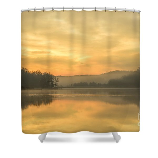 Misty Morning On The Lake Shower Curtain