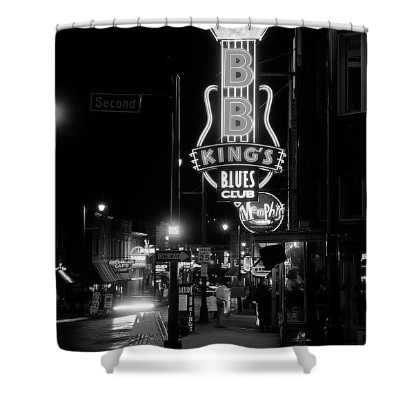 Neon Sign Lit Up At Night, B. B. Kings Shower Curtain