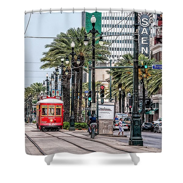New Orleans Canal Street Streetcars Shower Curtain