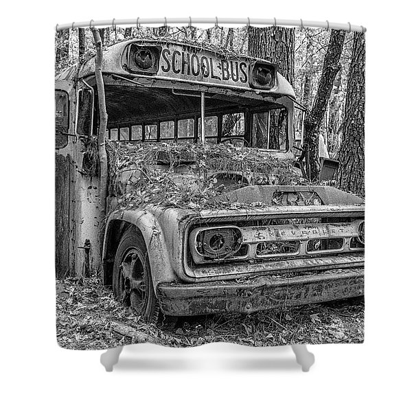 Old School Bus Shower Curtain