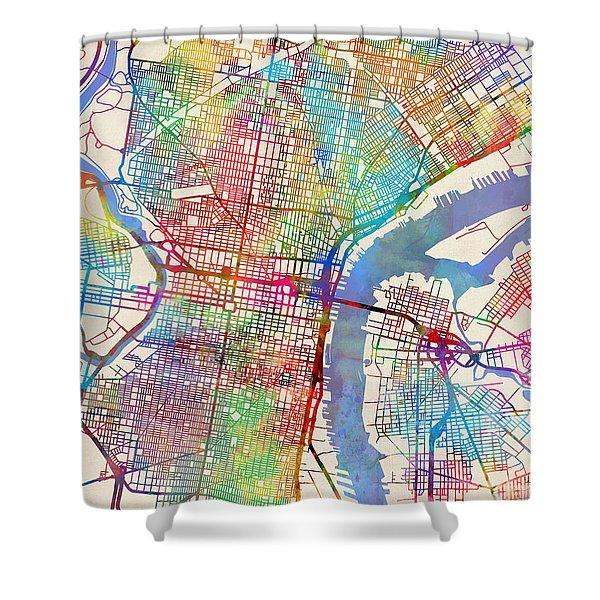 Philadelphia Pennsylvania City Street Map Shower Curtain