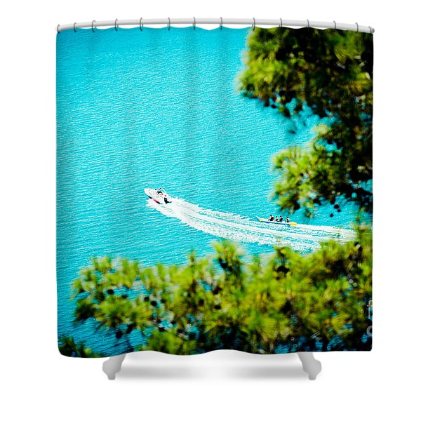 Pine Forest Over Sea Seascape Artmif.lv Shower Curtain