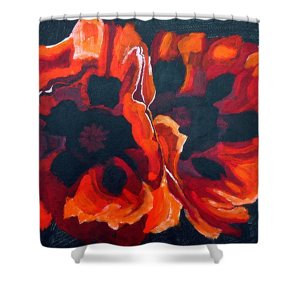 2 Poppies Shower Curtain