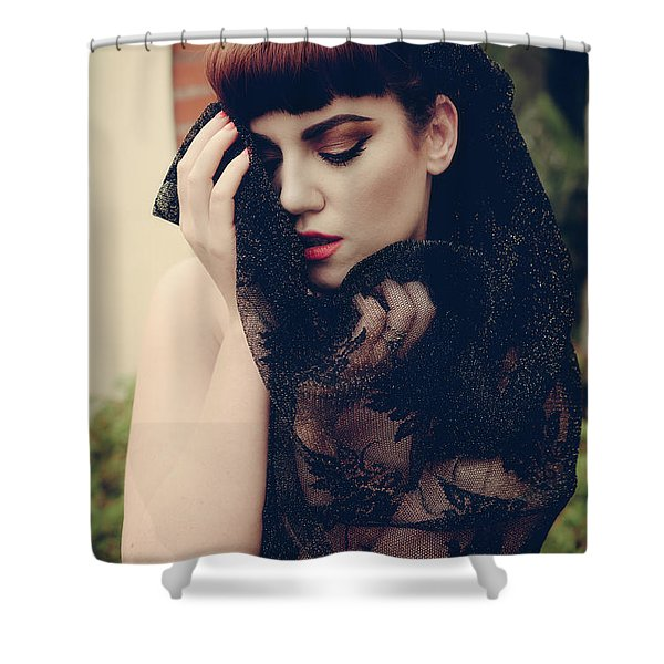 Portrait Of Young Woman Shower Curtain