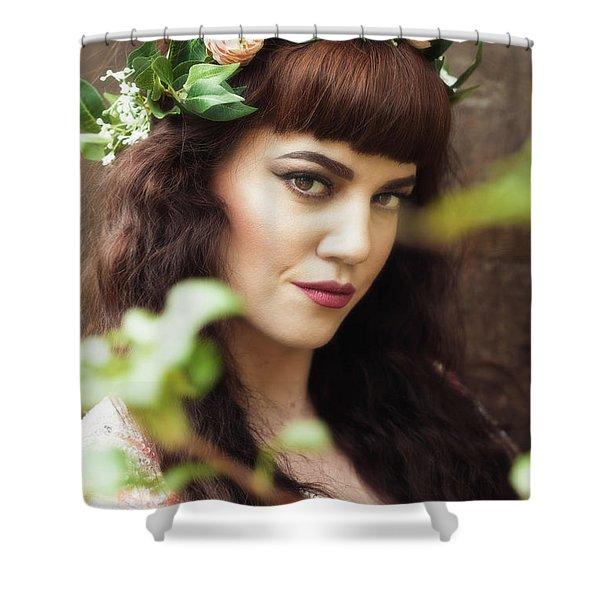 Pre-raphaelite Style Portrait Shower Curtain