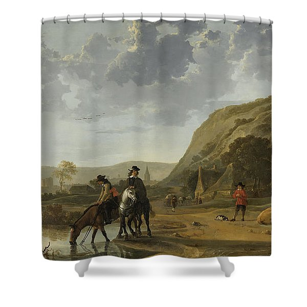 River Landscape With Riders Shower Curtain