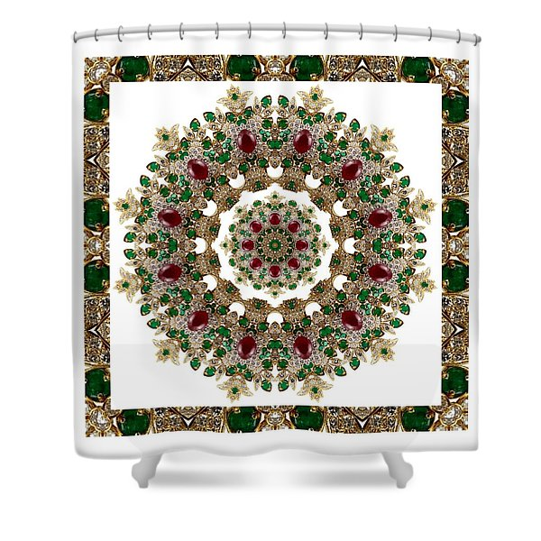 Ruby And Emerald Kaleidoscope Shower Curtain