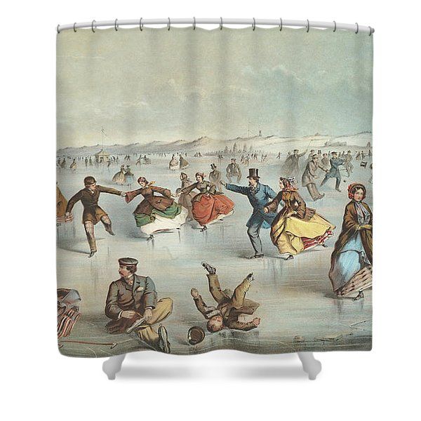 Skating In Central Park, New York Shower Curtain
