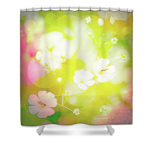 Summer Flowers, Baby's Breath, Digital Art Shower Curtain