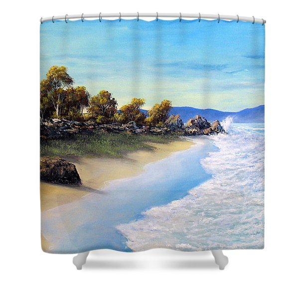 Surf Surge Shower Curtain by John Cocoris