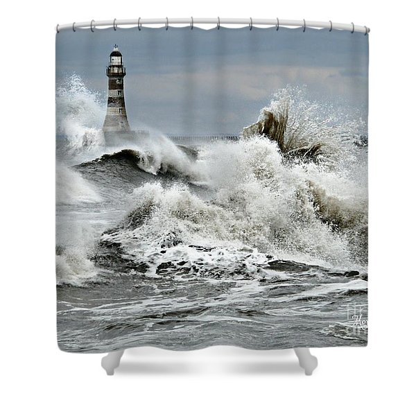 The Angry Sea Shower Curtain