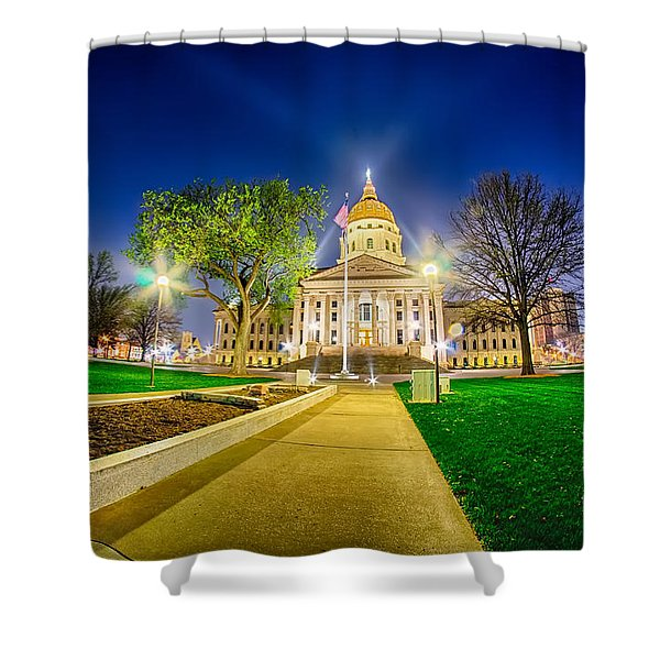Shower Curtain featuring the photograph Topeka Kansas Downtown At Night by Alex Grichenko
