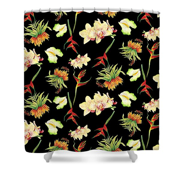 Tropical Island Floral Half Drop Pattern Shower Curtain