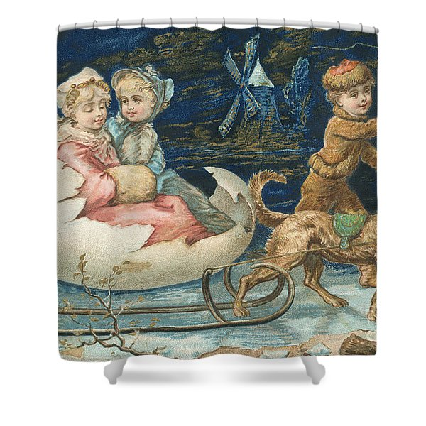Victorian Christmas Card Shower Curtain