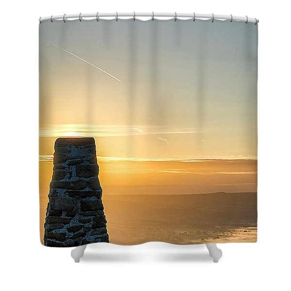 View Over The Hope Valley From Mam Tor At Dawn Shower Curtain