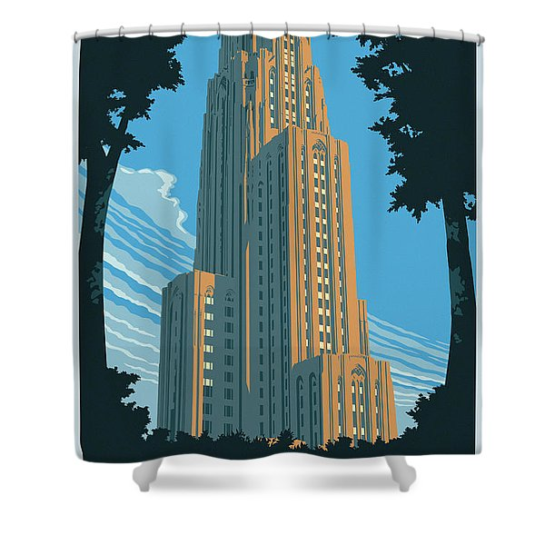 Pittsburgh Poster - Vintage Style Shower Curtain