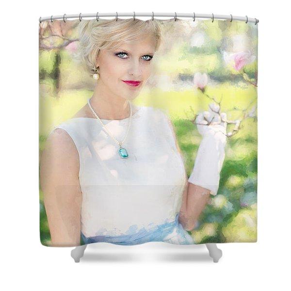 Vintage Val Magnolias Shower Curtain