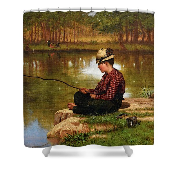 Waiting For A Bite, Central Park Shower Curtain