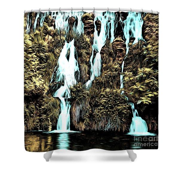 Waterfall Painting Shower Curtain