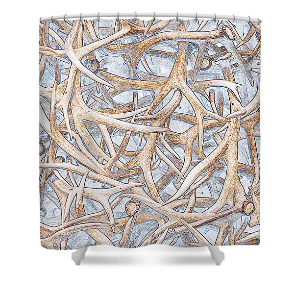 Weathered Elk Antlers Shower Curtain