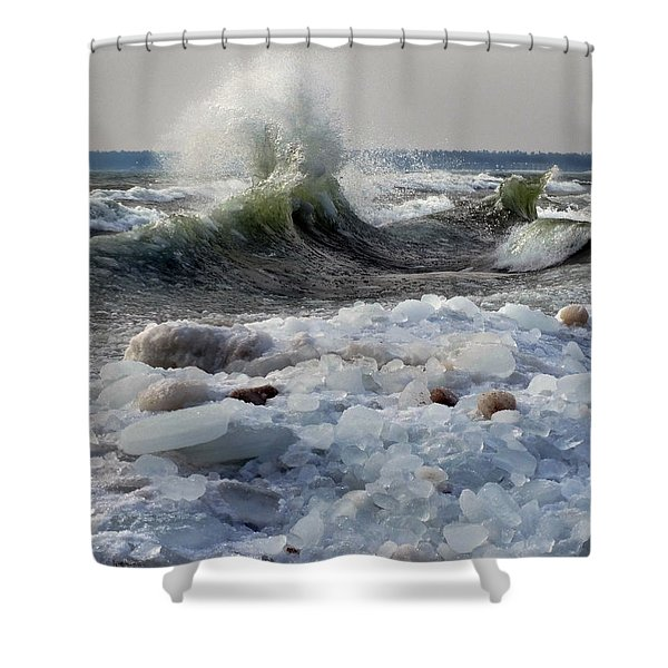 Winter Waves At Whitefish Dunes Shower Curtain