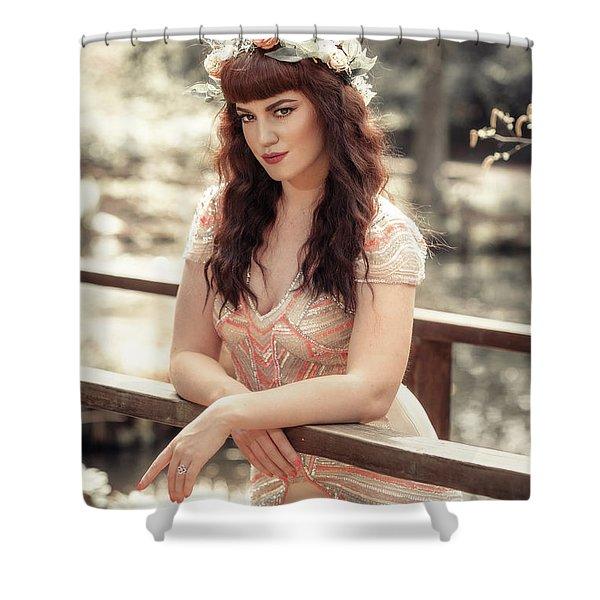 Woman On Wooden Bridge Shower Curtain