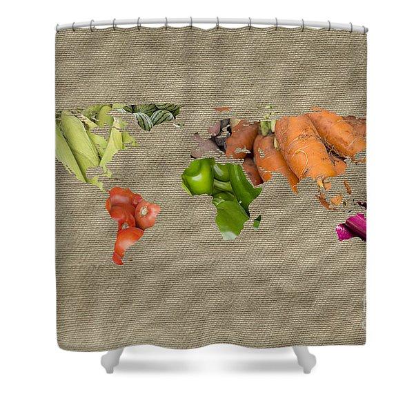 World Fruits Vegetables Map Shower Curtain