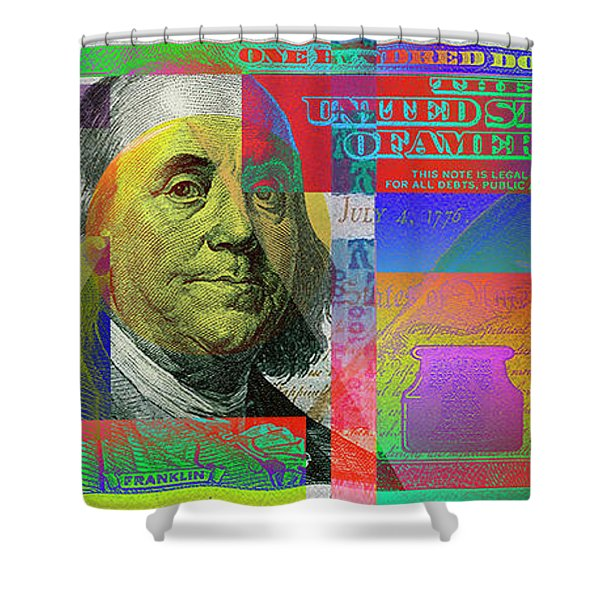 2009 Series Pop Art Colorized U. S. One Hundred Dollar Bill No. 1 Shower Curtain