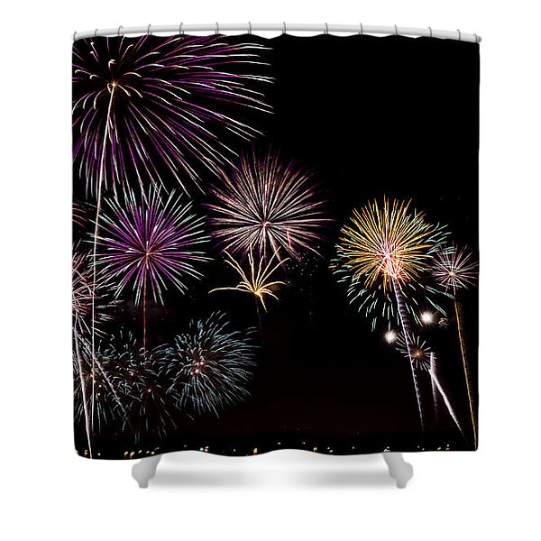 Shower Curtain featuring the photograph 2013 Fireworks Over Alton by Andrea Silies
