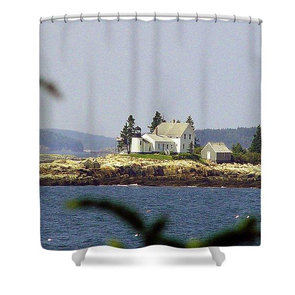 2015 Winter Harbor Light Shower Curtain