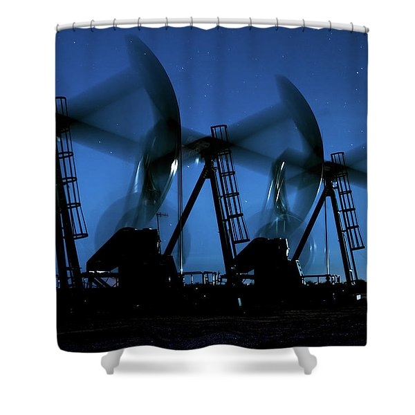 2016_12_midland Tx_midnight Pump Jacks 2 Shower Curtain