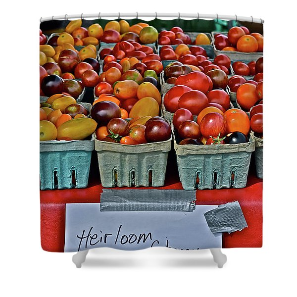 2017 Monona Farmers' Market August Heirloom Cherry Tomatoes Shower Curtain