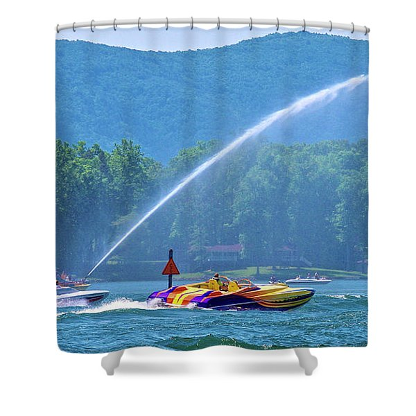 2017 Poker Run, Smith Mountain Lake, Virginia Shower Curtain