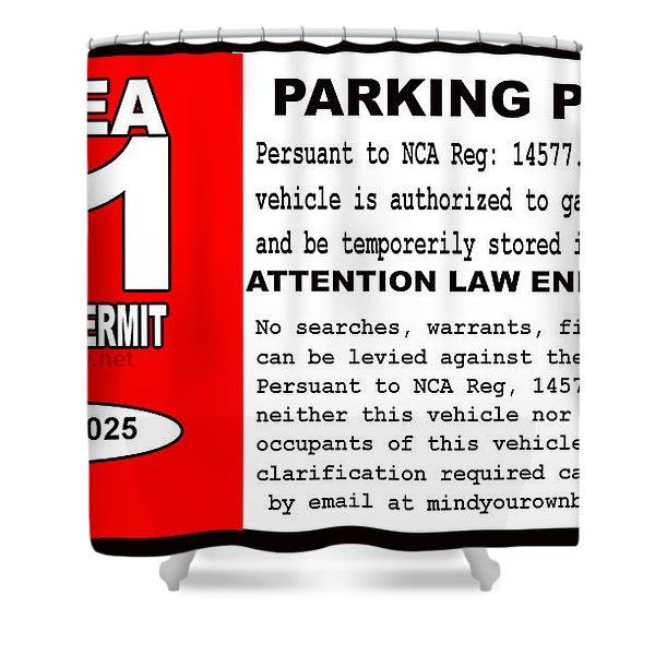 2018 Area 51 Parking Permit Shower Curtain