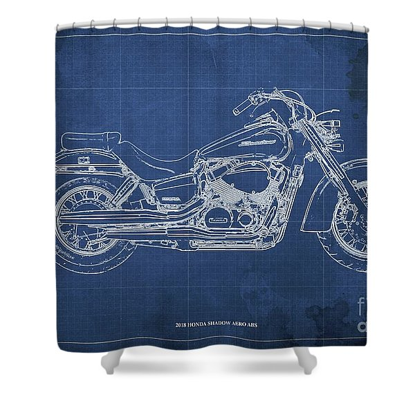 2018 Honda Shadow Aero Abs Blueprint, Blue Blueprint Shower Curtain