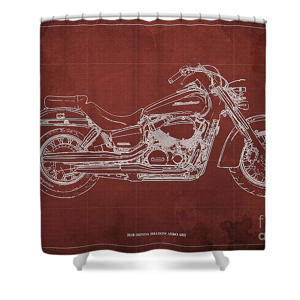 2018 Honda Shadow Aero Abs Blueprint, Red Background Shower Curtain