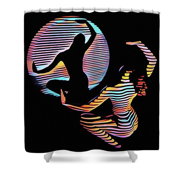 2039s-mak Female Figure In Spotlight Rendered In Composition Style Shower Curtain