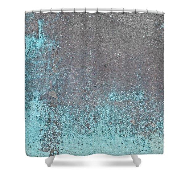 Blue Metal Shower Curtain