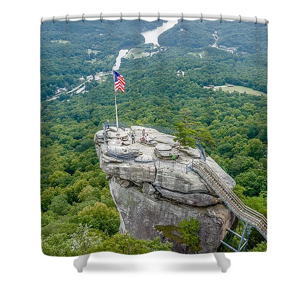 Shower Curtain featuring the photograph Lake Lure And Chimney Rock Landscapes by Alex Grichenko