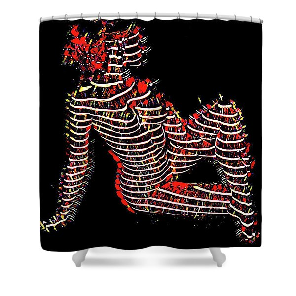 2450s-mak Lined By Light Nude Woman Rendered As Abstract Oil Painting Shower Curtain