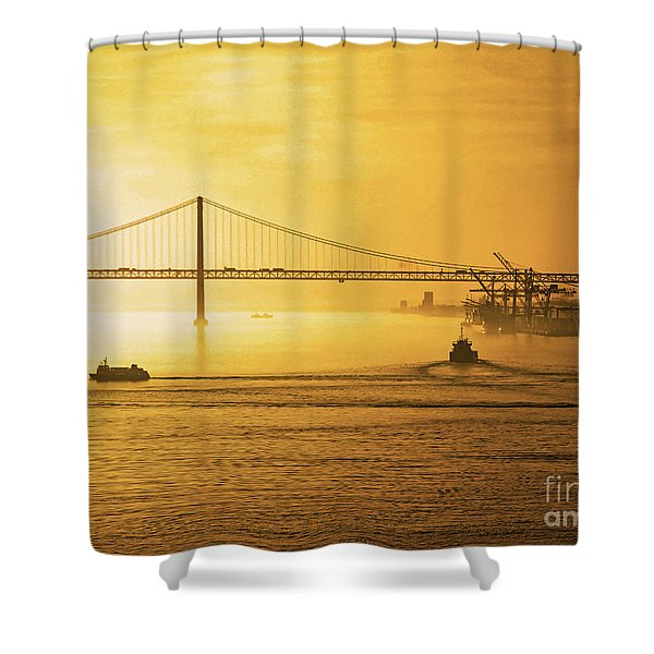 25 April Bridge River Tagus Lisbon At Sunset Shower Curtain