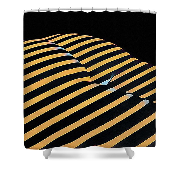 2612s-ak Abstract Rear Butt Bum Thighs Zebra Striped Woman In Composition Style Shower Curtain