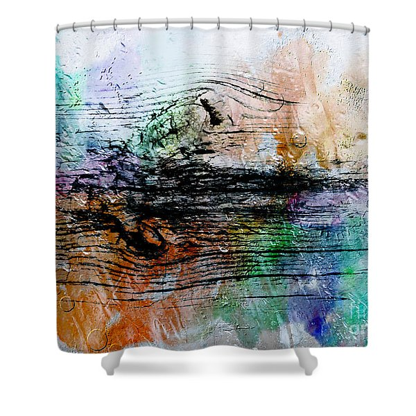 Shower Curtain featuring the painting 2h Abstract Expressionism Digital Painting by Ricardos Creations