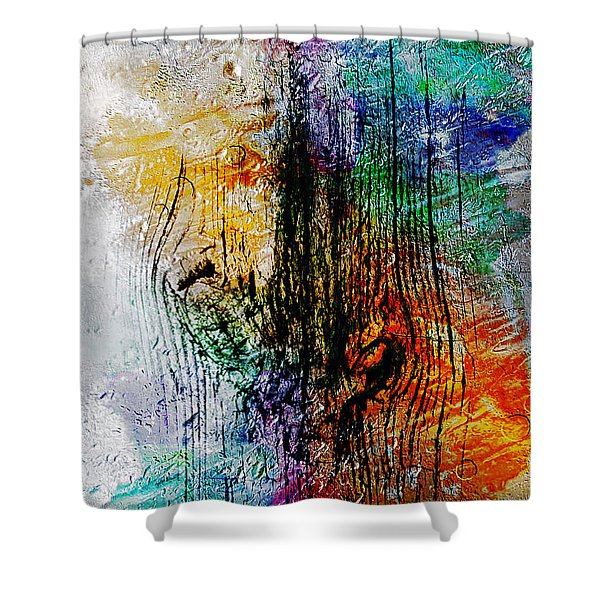 Shower Curtain featuring the painting 2l Abstract Expressionism Digital Painting by Ricardos Creations