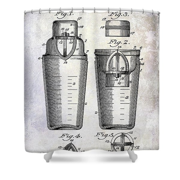 1913 Cocktail Shaker Patent Shower Curtain