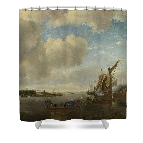 A River Scene With A Dutch Yacht Firing A Salute Shower Curtain