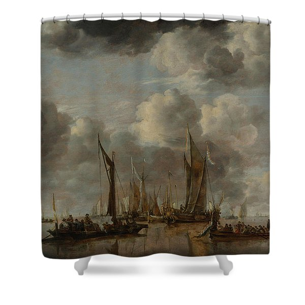 A Shipping Scene With A Dutch Yacht Firing A Salute Shower Curtain