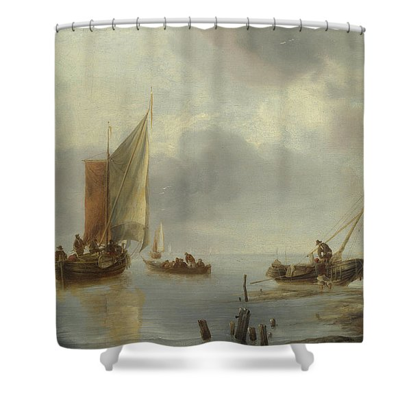 A Small Vessel In Light Airs, And Another Ashore Shower Curtain