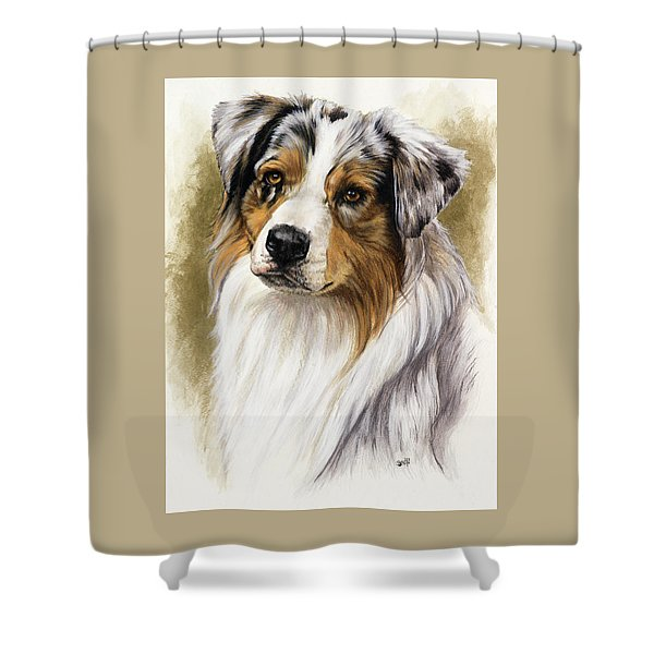 Shower Curtain featuring the mixed media Australian Shepherd by Barbara Keith